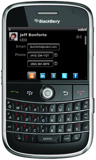 Xobni for BlackBerry Screenshot