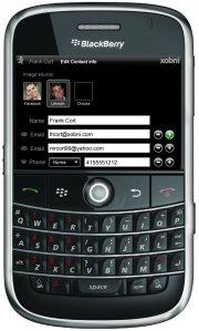 Edit contact using Xobni for BlackBerry