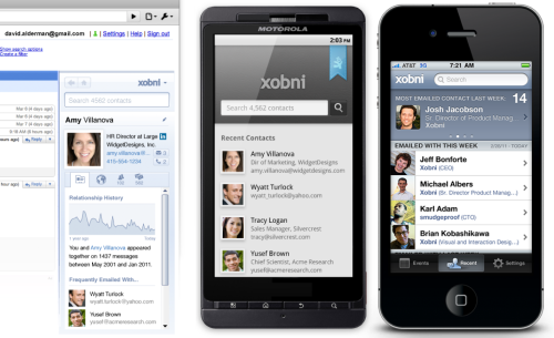 Xobni for GMail BETA, Android ALPHA & iPhone ALPHA